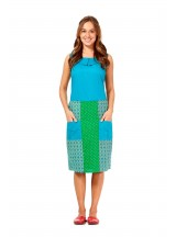 Tess A line Cotton Skirt - Green Chakra and Green Spot  Prints